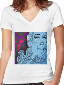 Psychedelic Ascent Women's Fitted V-Neck T-Shirt