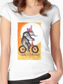 make it look easy, circus bear print Women's Fitted Scoop T-Shirt