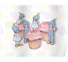Gnome Children Playing on Pink Cupcakes Poster