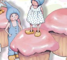 Gnome Children Playing on Pink Cupcakes Sticker