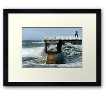 Waves Strike Whitby Outer Harbour Framed Print