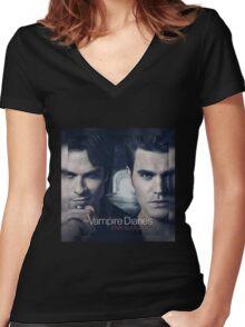 The Vampire Diaries Stefan & Damon Women's Fitted V-Neck T-Shirt