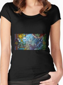 Hogwarts stained glass style Women's Fitted Scoop T-Shirt