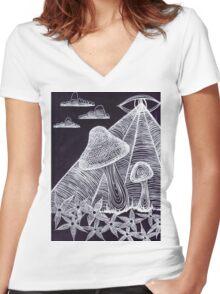 Trippy Eye Mushrooms Women's Fitted V-Neck T-Shirt