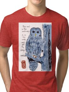 Barred Owl with Haiku Tri-blend T-Shirt