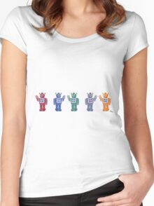 Retro Robot Parade Women's Fitted Scoop T-Shirt