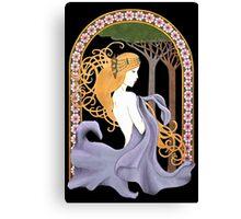 Art Nouveau Woman in Lavender Cutout Canvas Print