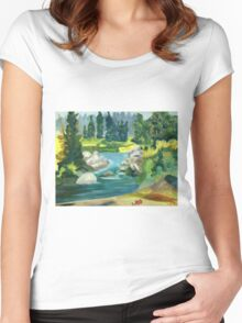 Green River -  Oil On Canvas Painting Women's Fitted Scoop T-Shirt