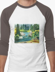Green River -  Oil On Canvas Painting Men's Baseball ¾ T-Shirt