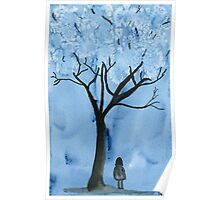 A blue forest - Watercolor painting Poster