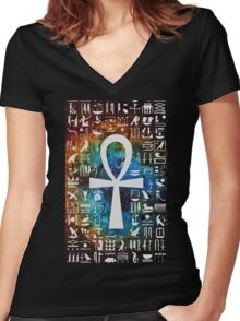 Egyptian Cross Galaxy Women's Fitted V-Neck T-Shirt