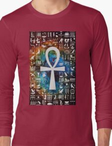 Egyptian Cross Galaxy Long Sleeve T-Shirt