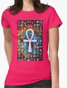 Egyptian Cross Galaxy Womens Fitted T-Shirt