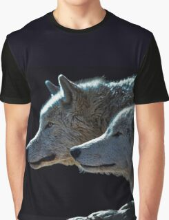 Two Gray Wolves Portrait Graphic T-Shirt