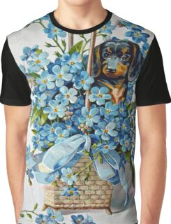 Dachshund and Forget-me-Nots Graphic T-Shirt