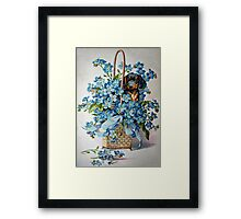 Dachshund and Forget-me-Nots Framed Print