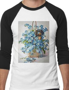 Dachshund and Forget-me-Nots Men's Baseball ¾ T-Shirt