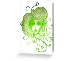 Green Girl with Whispy Hair Greeting Card