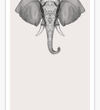 Indian Elephant Black and White Sticker