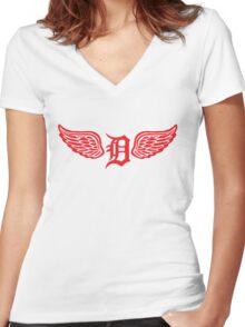 Detroit D Wing Women's Fitted V-Neck T-Shirt