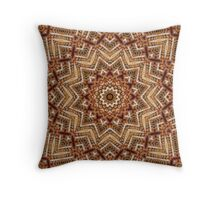 Light and Dark Brown Kaleiduscope-Mandala Throw Pillow