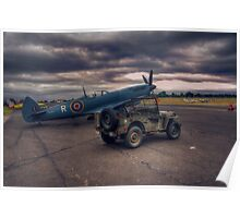 Reconnaissance Spitfire and Jeep Poster