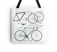 Fixie Bike anatomy Tote Bag