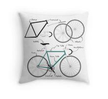 Fixie Bike anatomy Throw Pillow