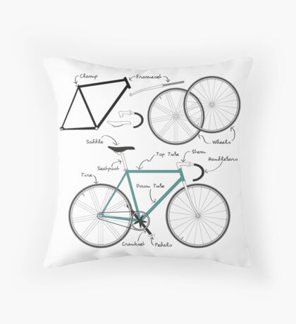 Fixie Bike anatomy Throw Pillow