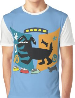 Abstract cartoon dog in black, blue and orange Graphic T-Shirt