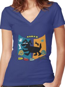 Abstract cartoon dog in black, blue and orange Women's Fitted V-Neck T-Shirt