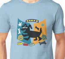 Abstract cartoon dog in black, blue and orange Unisex T-Shirt