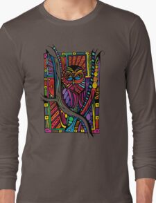 Psychedelic Color Owl on Patterns Long Sleeve T-Shirt