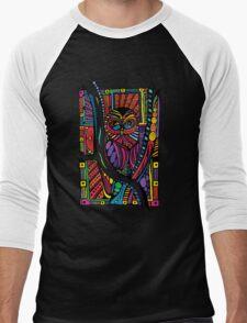 Psychedelic Color Owl on Patterns Men's Baseball ¾ T-Shirt