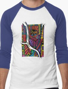 Psychedelic Color Owl on Patterns Men's Baseball ¾ T-Shirt