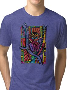 Psychedelic Color Owl on Patterns Tri-blend T-Shirt