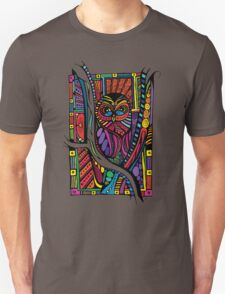 Psychedelic Color Owl on Patterns Unisex T-Shirt