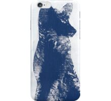 Navy Blue Finger Painted Arctic Fox iPhone Case/Skin