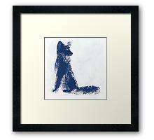 Navy Blue Finger Painted Arctic Fox Framed Print