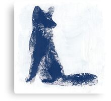 Navy Blue Finger Painted Arctic Fox Canvas Print