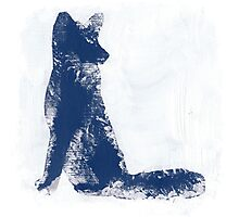 Navy Blue Finger Painted Arctic Fox Photographic Print