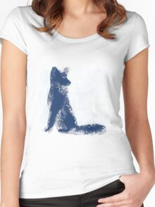 Navy Blue Finger Painted Arctic Fox Women's Fitted Scoop T-Shirt