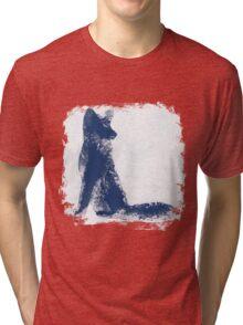 Navy Blue Finger Painted Arctic Fox Tri-blend T-Shirt
