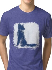Navy Blue Finger Painted Arctic Fox Tri-blend T-Shirt