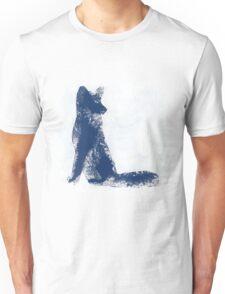 Navy Blue Finger Painted Arctic Fox Unisex T-Shirt