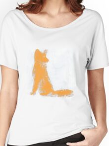 Orange Finger Painted Arctic Fox Women's Relaxed Fit T-Shirt
