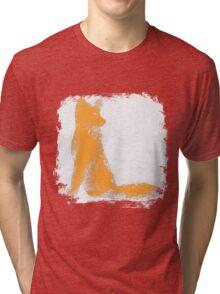 Orange Finger Painted Arctic Fox Tri-blend T-Shirt