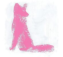 Pink Finger Painted Arctic Fox Photographic Print