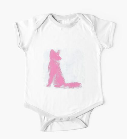 Pink Finger Painted Arctic Fox One Piece - Short Sleeve