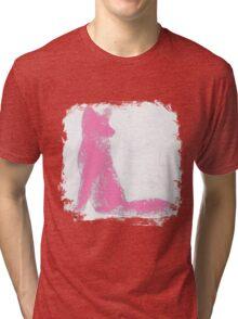 Pink Finger Painted Arctic Fox Tri-blend T-Shirt